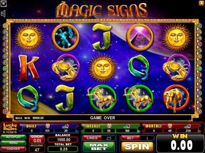 Casinoval featuring the Video Slots Magic Signs with a maximum payout of $1,250