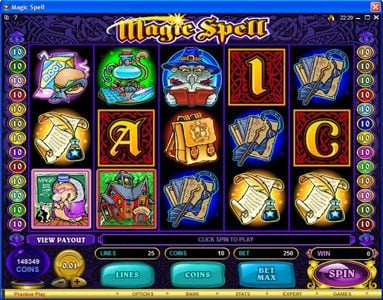 Cinema featuring the Video Slots Magic Spell with a maximum payout of $20,000