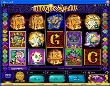 Golden Riviera featuring the Video Slots Magic Spell with a maximum payout of $20,000