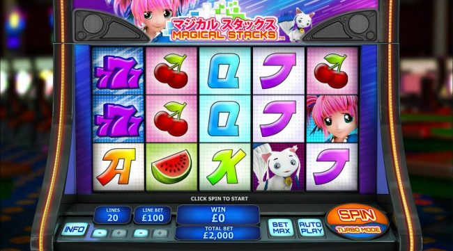 An Asian cartoon themed main game board featuring five reels and 20 paylines with a $50,000 max payout