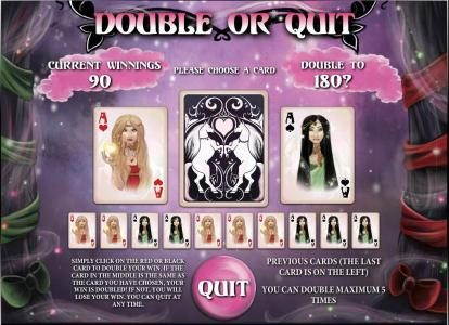 double or quit  gamble feature game board