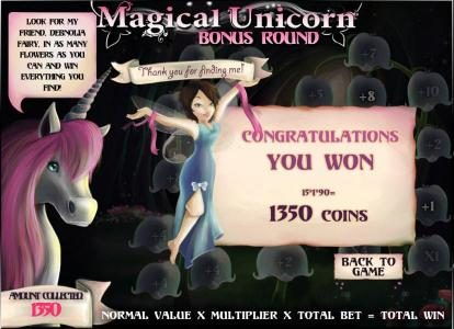 bonus game pays 1350 coins for a big win