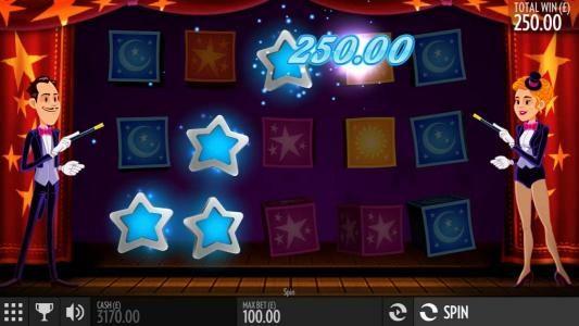 A winning payline triggers a 250.00 payout
