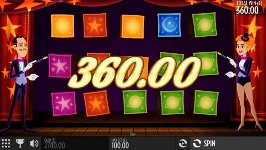 Multiple winning paylines triggers a 360.00 big win!