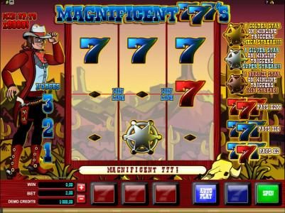 Jackpot Paradise featuring the Video Slots Magnificent 777's with a maximum payout of $2,000