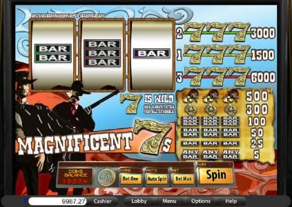 Lake Palace featuring the Video Slots Magnificient 7's with a maximum payout of $6,000