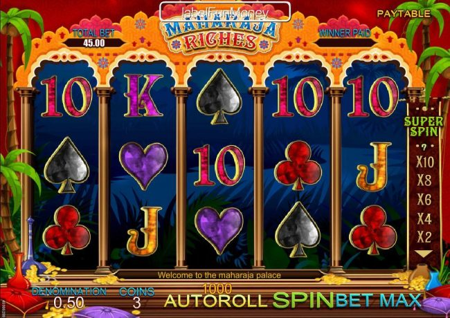 Play slots at Win 7: Win 7 featuring the Video Slots Maharaja Riches with a maximum payout of $500