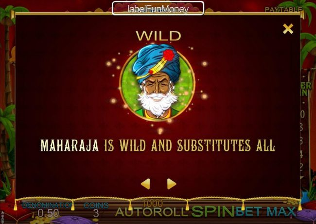 Win 7 featuring the Video Slots Maharaja Riches with a maximum payout of $500