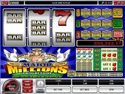 Play slots at Fun Casino: Fun Casino featuring the Video Slots Major Millions 3 Reel with a maximum payout of Jackpot