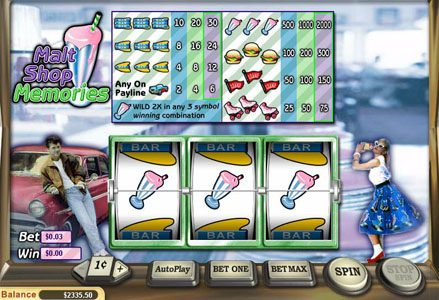 Miami Club featuring the Video Slots Malt Shop Memories with a maximum payout of $60,000