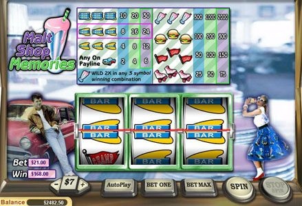 Red Stag featuring the Video Slots Malt Shop Memories with a maximum payout of $60,000