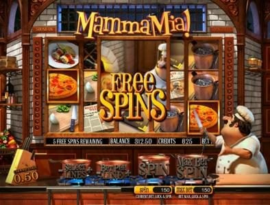three pizza symbols triggers free spins feature