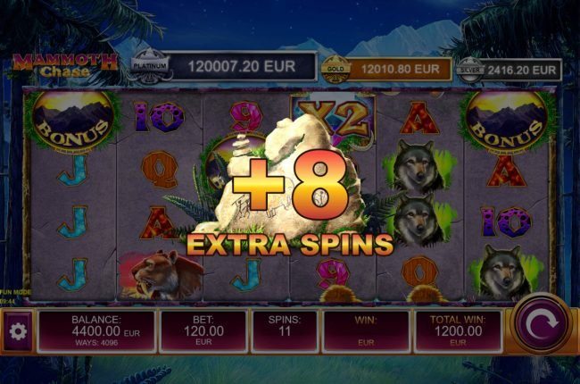 Mammoth Chase :: An additional 8 free spins awarded