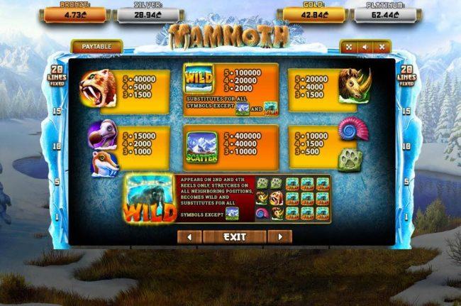 Mammoth :: Paytable