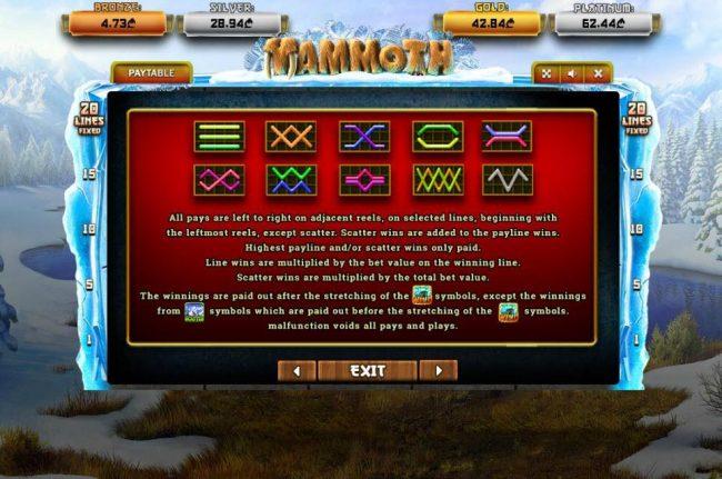 Mammoth :: Paylines 1-20