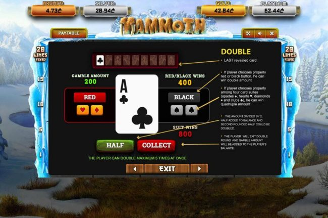 Mammoth :: Gamble Feature Rules