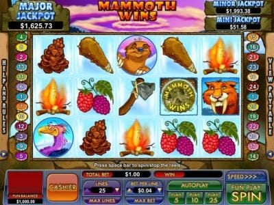 BuzzLuck featuring the Video Slots Mammoth Wins with a maximum payout of $13,333