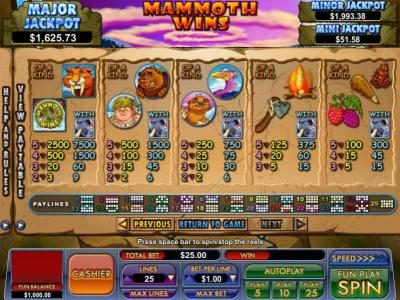 Play slots at Slot Madness: Slot Madness featuring the Video Slots Mammoth Wins with a maximum payout of $13,333