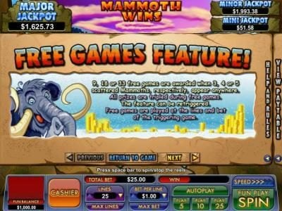 Slot Madness featuring the Video Slots Mammoth Wins with a maximum payout of $13,333