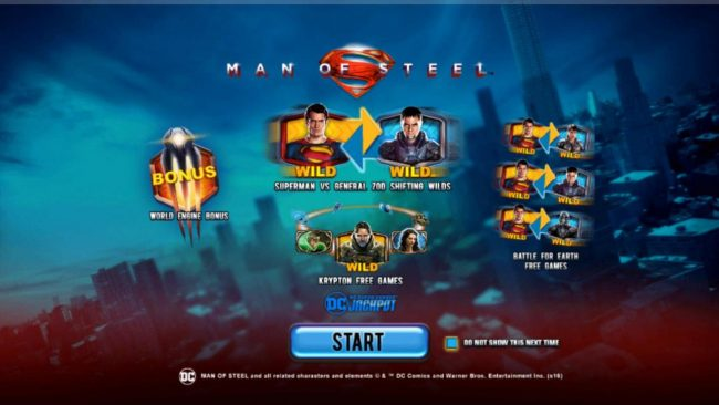 Man of Steel :: Game features include: Progressive Jackpots, World Engine Bonus, Supermand VS General Zod Shifting Wilds, Krypton Free Games and Battle for Earth Free Games