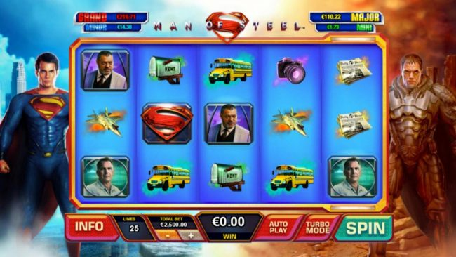 Man of Steel :: A superhero themed main game board featuring five reels and 25 paylines with a progressive jackpots max payout