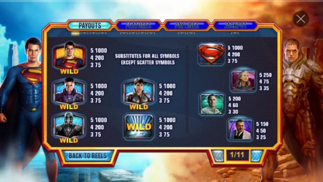 Man of Steel :: High value slot game symbols paytable featuring movie character inspired icons.