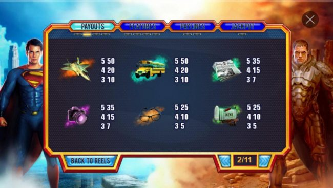 Man of Steel :: Low value game symbols paytable.