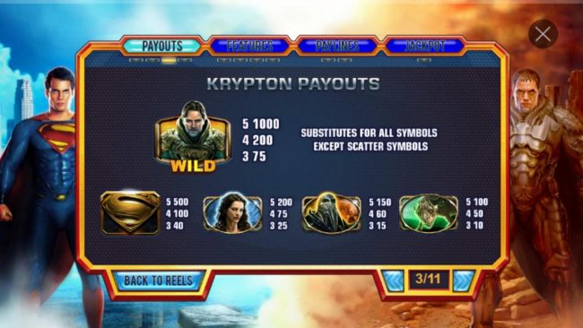Man of Steel :: Krypton Symbol Payouts