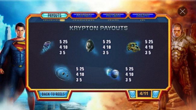 Man of Steel :: Krypton Low Value Symbol Payouts