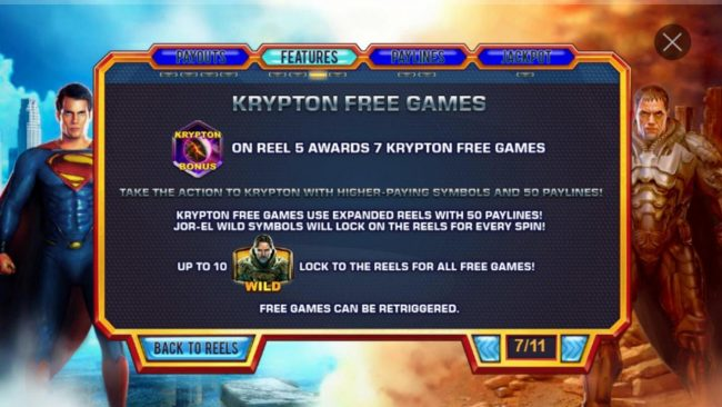 Krypton Free Games Rules - Landing Krypton Bonus symbol on reel 5 awards 7 Krypton Free Games.