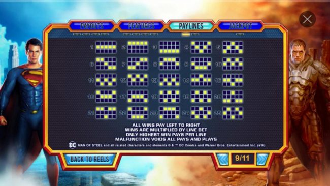 Man of Steel :: Base Game Paylines 1-25. All wins pay left to right. Only highest win pays per line.