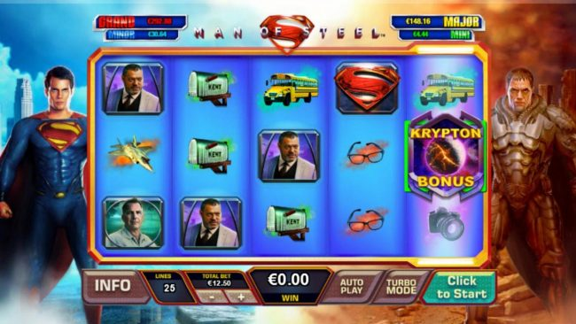 Man of Steel :: Landing a Krypton Bonus symbol anywhere on reel 5 triggers the Krypton Free Games Bonus feature.