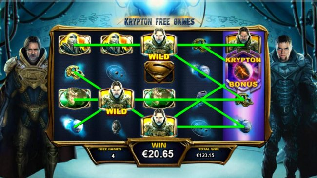 Man of Steel :: Multiple winning paylines triggered by sticky wilds during the Krypton Free Games feature