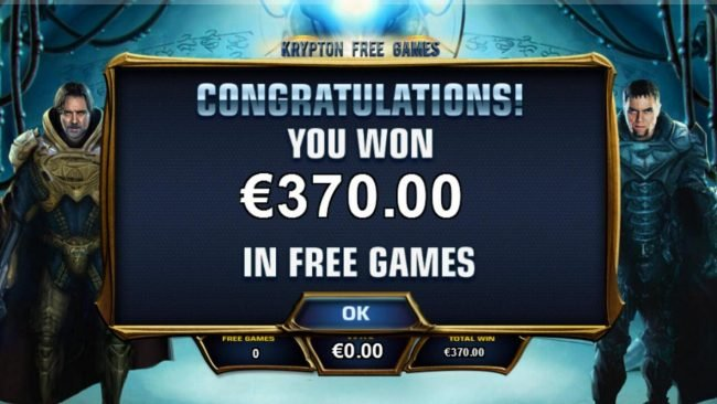 Man of Steel :: Krypton Free Games feature pays out a total of 370.00.