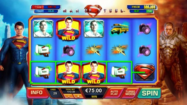 Man of Steel :: Shifting Wilds triggers multiple winning paylines.