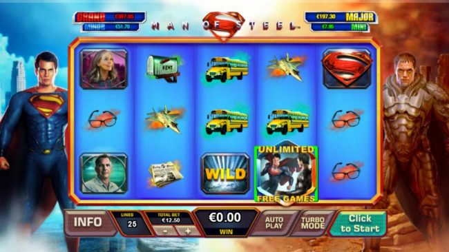 Man of Steel :: The colliding of the Superman wild and General Zod wild symbols triggers the Battle for Earth unlimited free games feature.