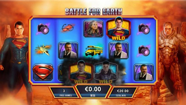 Man of Steel :: Whenever Super collides with a villian on the same row, a battle will begin, the resulting victory will determine whether the free games feature continus or ends.