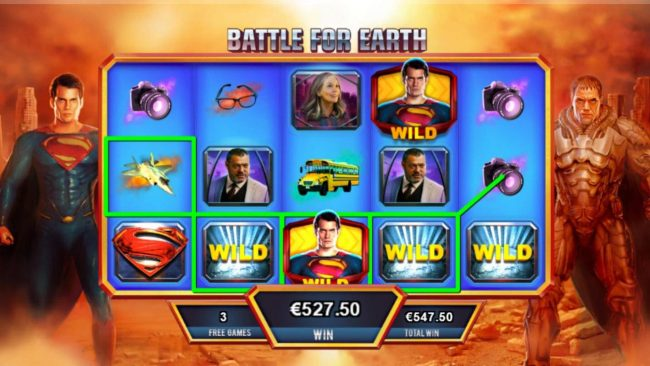 Man of Steel :: Multiple winning paylines triggers a 527.50 big win!