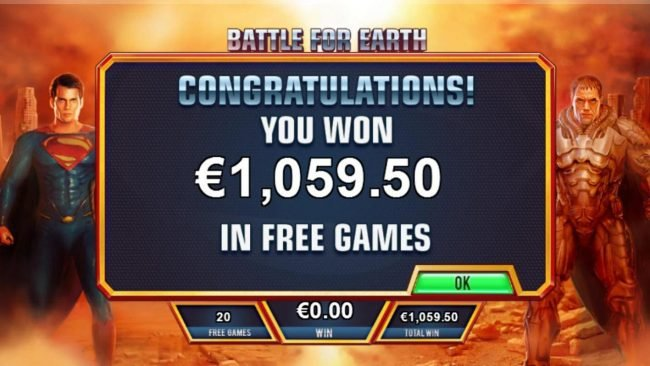 Man of Steel :: Battle for Earth feature pays out a total of 1,059.50.