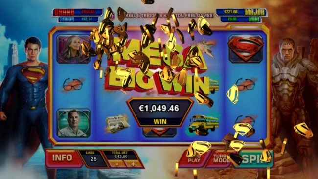 Casino.com featuring the Video Slots Man of Steel with a maximum payout of $100,000