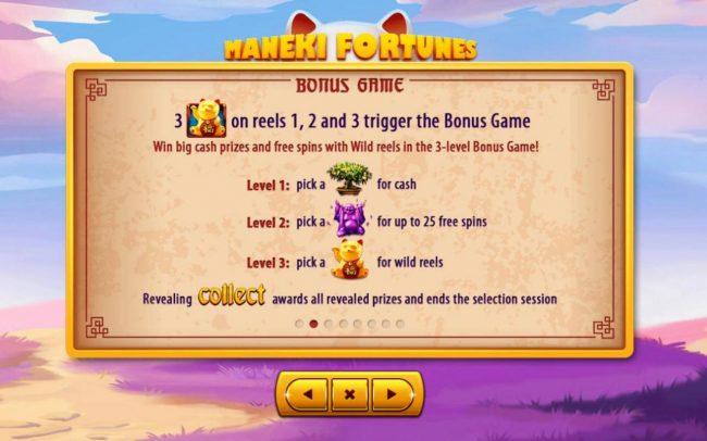 Maneki Fortunes :: Bonus Game Rules