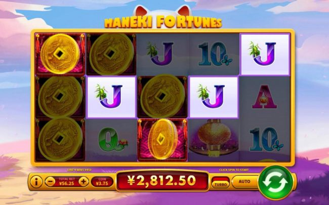 Maneki Fortunes :: Multiple winning paylines triggers a big win!