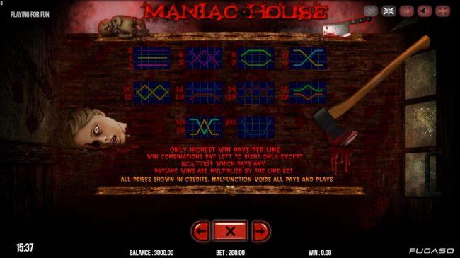 Maniac Club :: Paylines 1-20