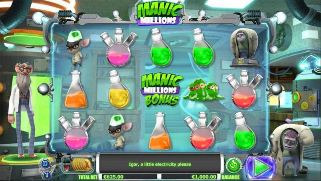 Playgrand featuring the Video Slots Manic Millions with a maximum payout of $31,250