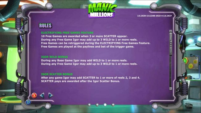 Electrifying Free Games Feature, Igor Wild Feature and Igor Scatter Bonus Rules.