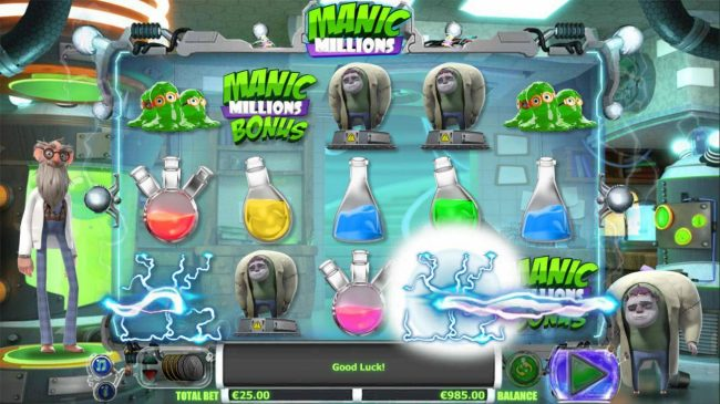 Manic Millions :: Igor Wild Bonus activated, changing symbols into wilds.