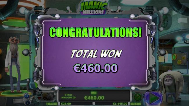 The free spins feature pays out a total of 460.00
