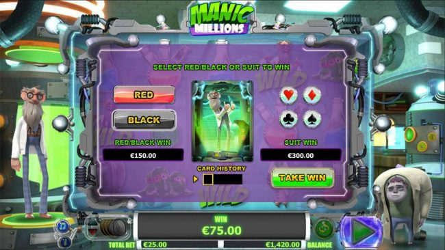 7Bit featuring the Video Slots Manic Millions with a maximum payout of $31,250