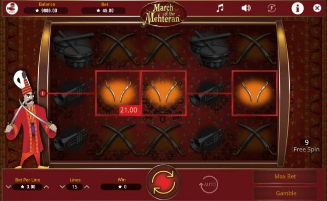 Play 24 Bet featuring the Video Slots March of the Mehteran with a maximum payout of $75,000