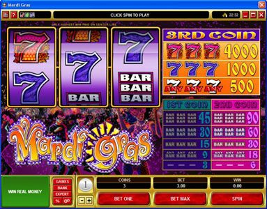 Play slots at Go Wild: Go Wild featuring the Video Slots Mardi Gras with a maximum payout of $200,000
